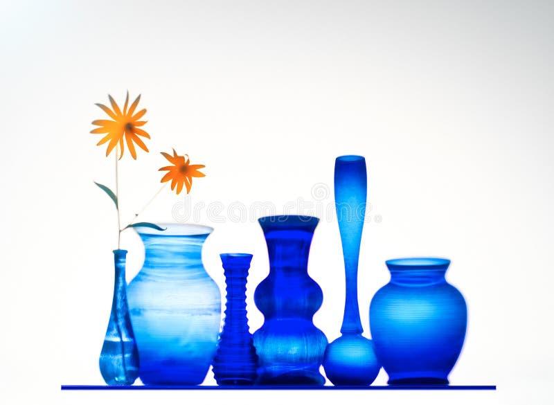 Vasi dell'azzurro di cobalto con i fiori fotografie stock libere da diritti