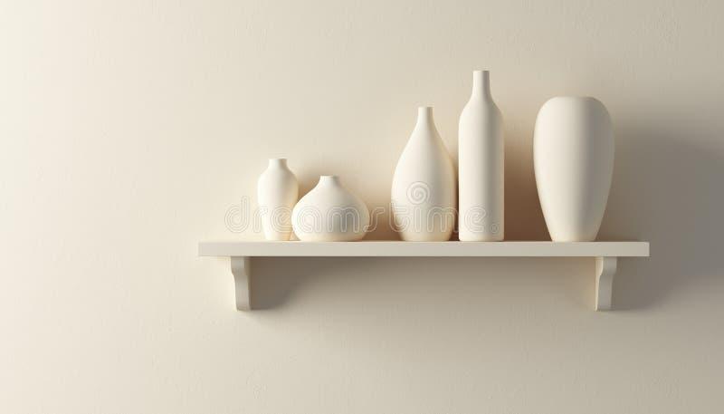Vasi della ceramica sulla mensola illustrazione di stock