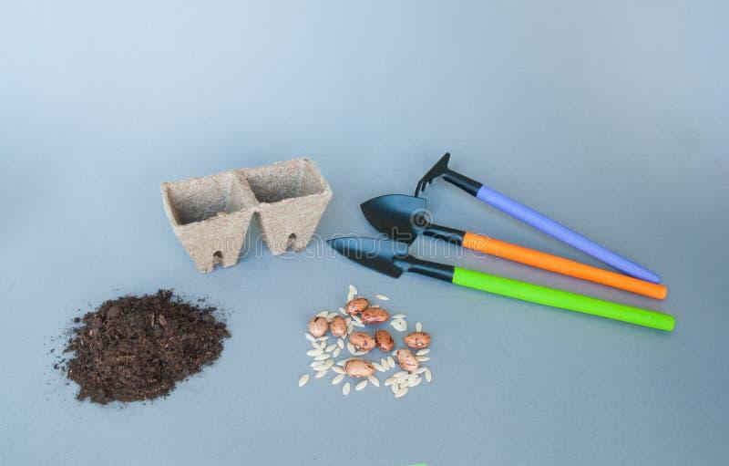 Vasi della torba con gli strumenti ed il suolo di giardino immagine stock