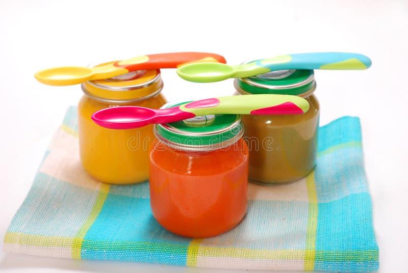 Vasi di alimenti per bambini fotografia stock