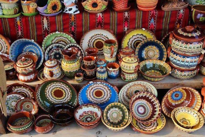 Vasi e tazze ceramici fotografia stock