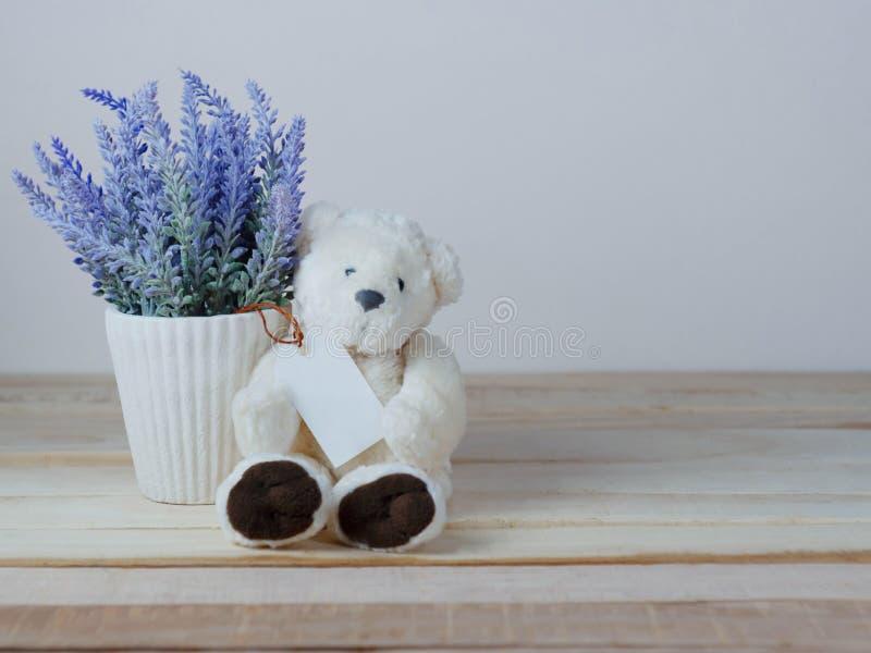 Vasi porpora della lavanda e orsacchiotti svegli con l'etichetta di carta in bianco immagini stock libere da diritti