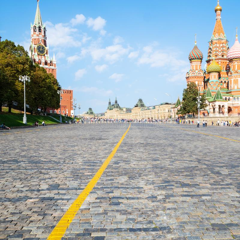 Vasilevsky Descent of Red Square in Moscow city. In sunny september day royalty free stock photos