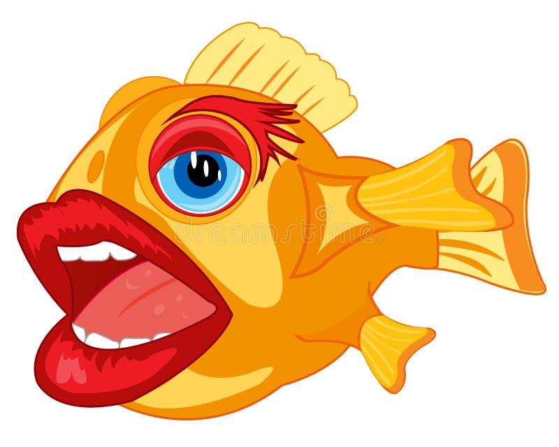 Vasilha de barro cômica dos peixes ilustração do vetor