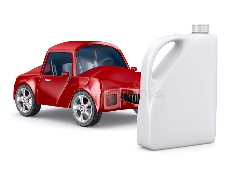 Vasilha vermelha do carro e do petróleo no fundo branco ilustração do vetor