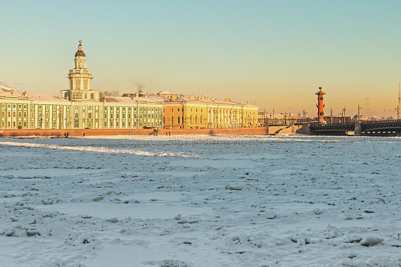 Vasilievsky island and Kunstkammer winter morning in St. Petersburg royalty free stock photos