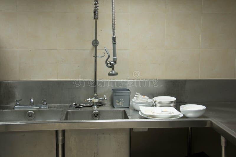 Vask för utrustningkökstål för rengöring royaltyfri fotografi