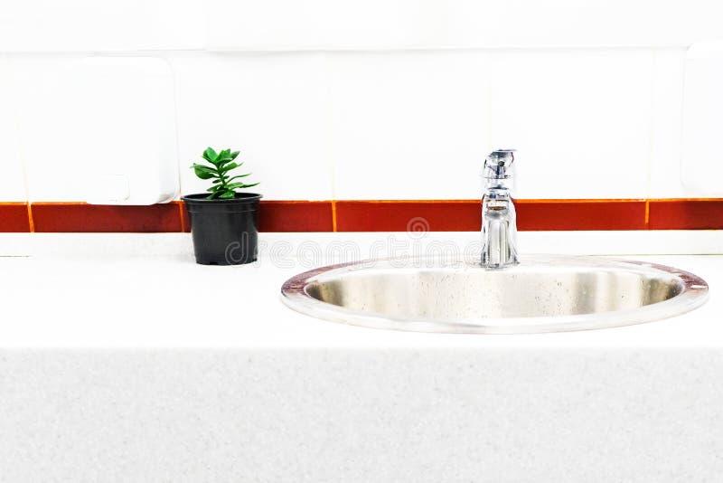 Vasken i badrummet på bakgrunden av ljusa tegelplattor med ett ljust band, designen av en blomma i en kruka arkivfoto
