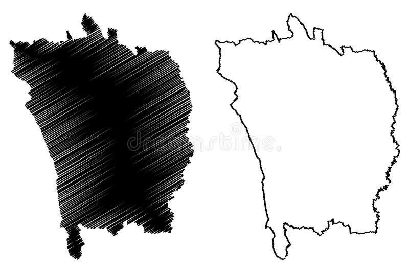 Vaslui County klottrar administrativa uppdelningar av Rum?nien, f?r region?versikt f?r utveckling Nord-Est illustration f?r vekto stock illustrationer