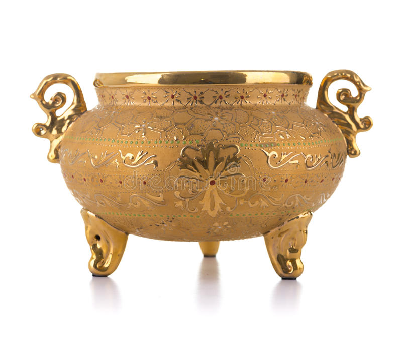 Vaso antico dorato immagine stock
