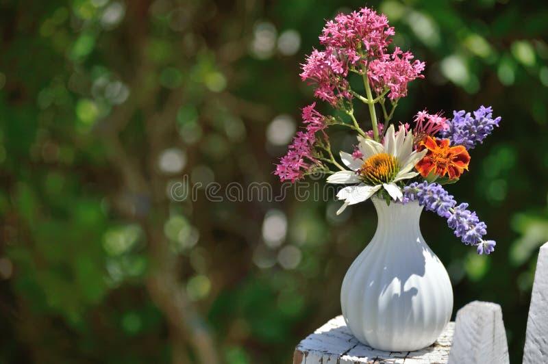 Vaso branco com cravo-de-defunto, valeriana, alfazema, Coneflower branco foto de stock