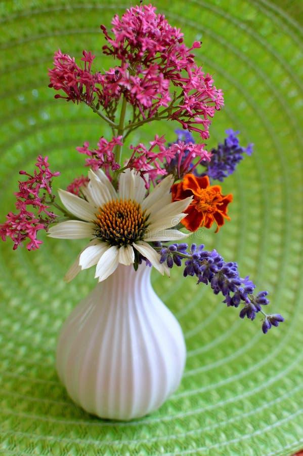 Vaso branco na esteira verde com cravo-de-defunto, valeriana, alfazema, Coneflower branco imagens de stock royalty free