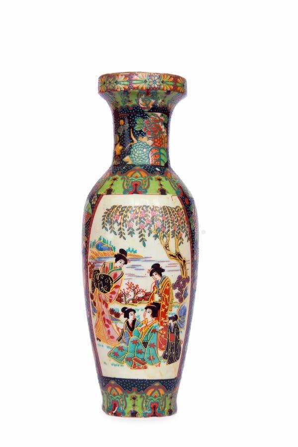 Vaso cerâmico do estilo chinês fotografia de stock royalty free