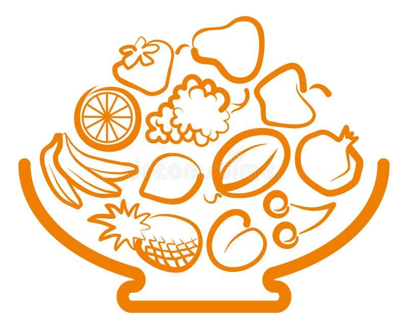 Vaso com fruta ilustração stock