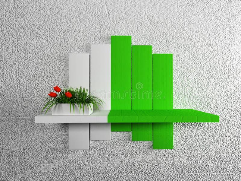 Vaso com a planta na prateleira ilustração do vetor