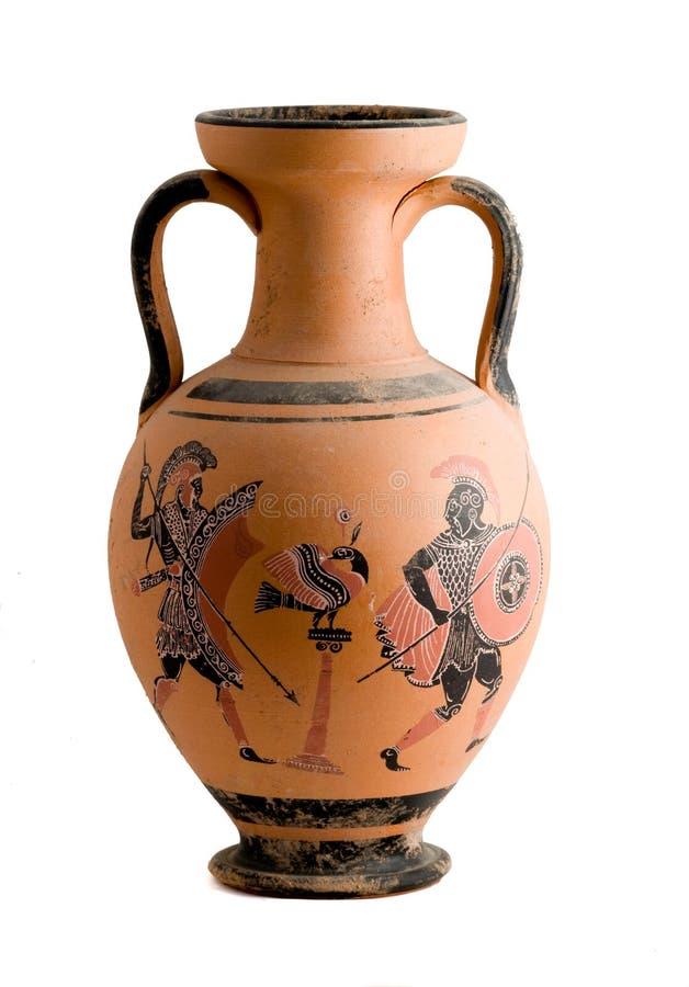 Vaso com uma cena histórica grega foto de stock royalty free