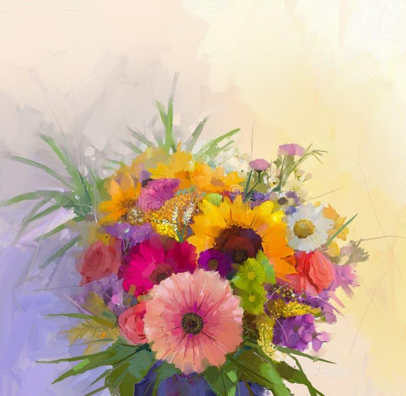 Vaso com vida imóvel um ramalhete da pintura das flores ilustração do vetor