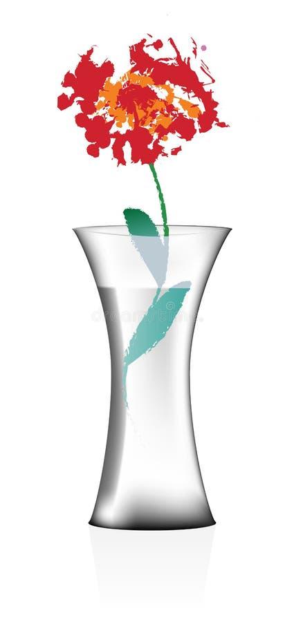 Vaso con acqua ed il fiore fotografia stock libera da diritti