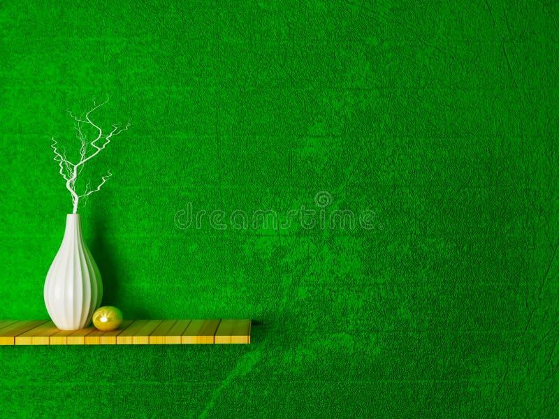 Vaso con i rami sullo scaffale di legno, illustrazione di stock