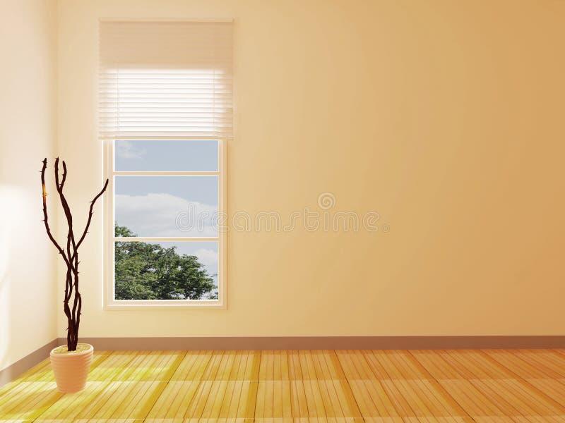 Vaso con i rami vicino alla finestra illustrazione di stock