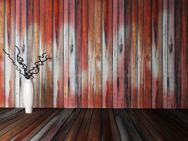Vaso con i rami vicino alla parete di legno illustrazione vettoriale