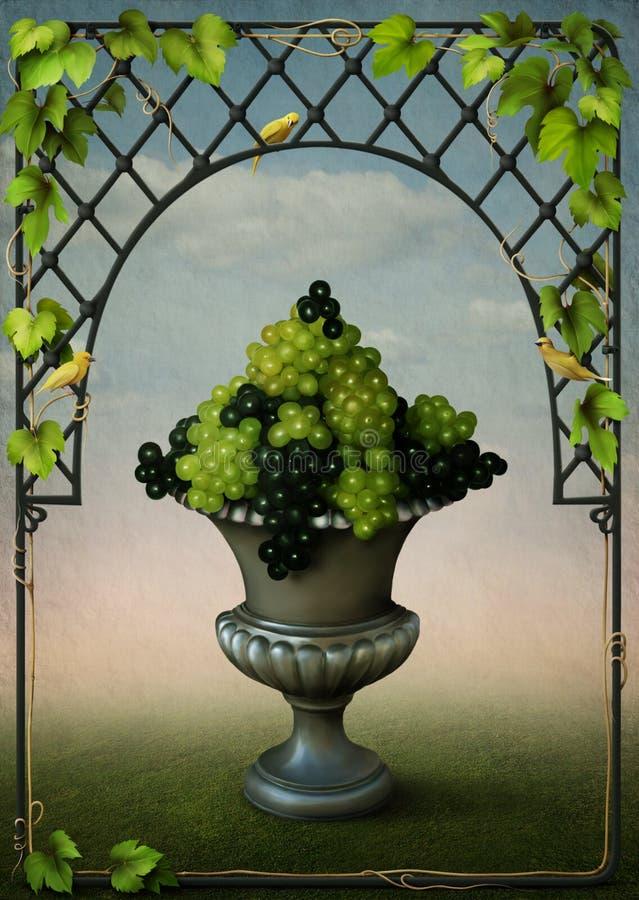Vaso con il blocco per grafici delle viti e dell'uva illustrazione vettoriale