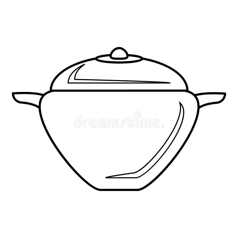 Vaso con l'icona del coperchio, stile del profilo illustrazione vettoriale