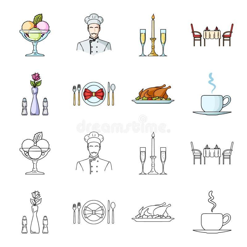 Vaso con un fiore, regolazione della tavola, pollo fritto con il contorno, una tazza di caffè Icone stabilite della raccolta del  illustrazione vettoriale