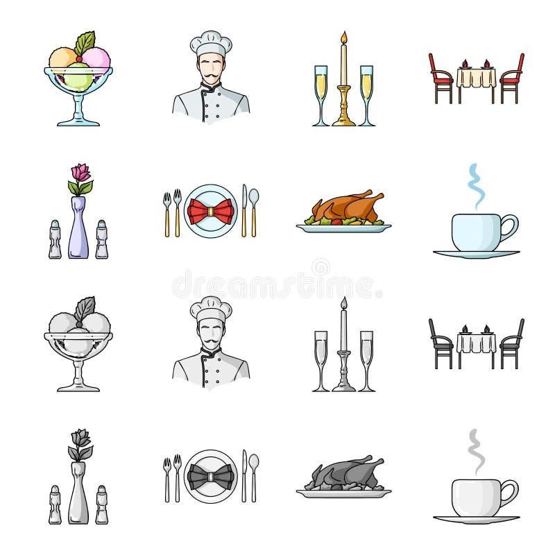 Vaso con un fiore, regolazione della tavola, pollo fritto con il contorno, una tazza di caffè Icone stabilite della raccolta del  illustrazione di stock