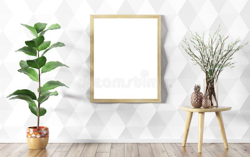Vaso de flor sobre a parede branca do paneling e zombaria acima do interior do cartaz ilustração stock