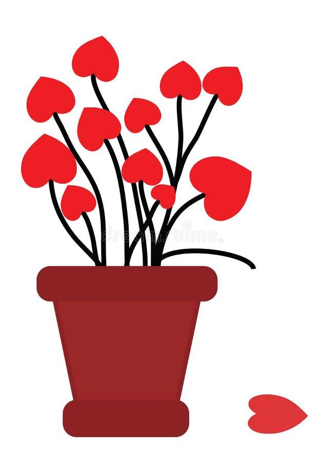 Vaso de flores com amor imagens de stock