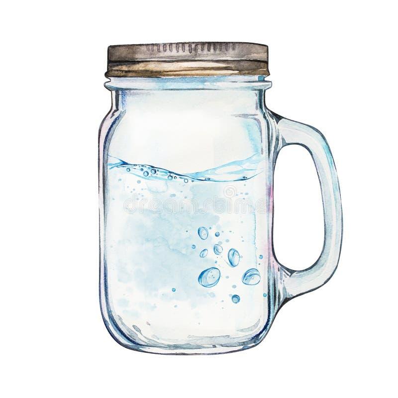Vaso de Isoleted con la tapa del acero inoxidable La mano de la acuarela dibujada pintó el ejemplo, la línea de agua y burbujas imágenes de archivo libres de regalías