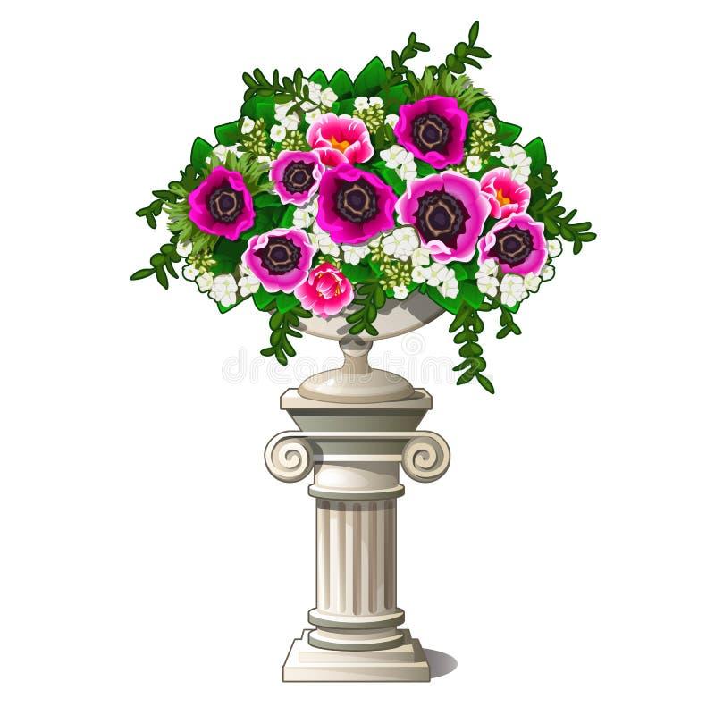 Vaso de mármore do vintage com flores sob a forma de uma coluna antiga isolada no fundo branco Elemento da paisagem ilustração stock