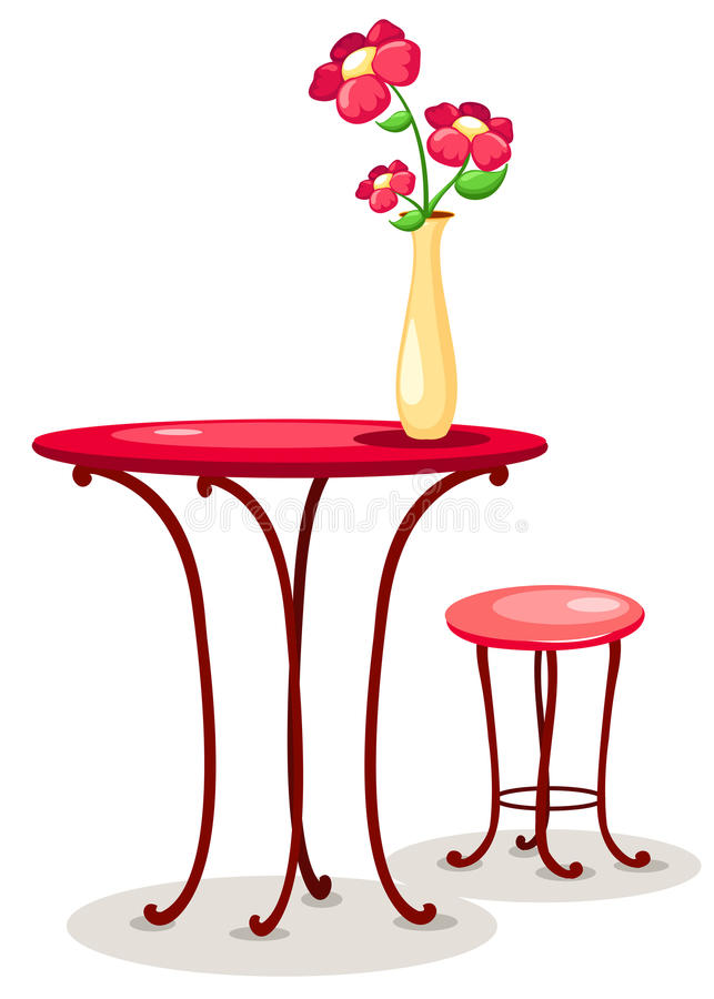 Vaso dei fiori con la tabella e la presidenza illustrazione di stock