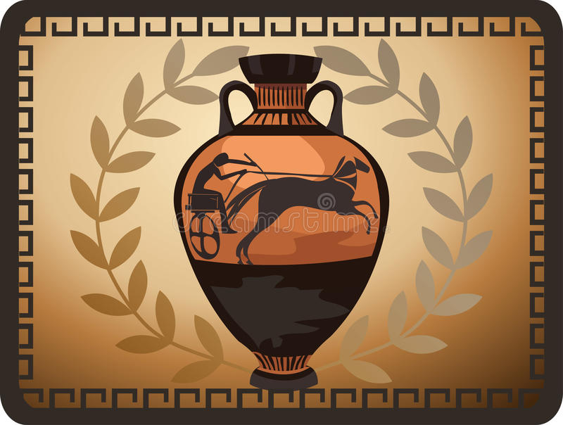 Vaso del Greco dell'oggetto d'antiquariato illustrazione di stock