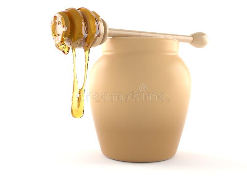 Vaso del miele con il merlo acquaiolo del miele illustrazione di stock