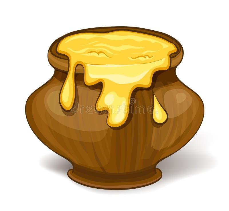 Vaso del miele del fumetto illustrazione vettoriale