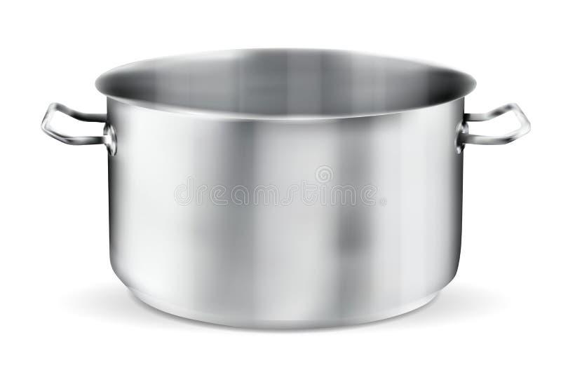 Vaso dell'acciaio inossidabile su fondo bianco illustrazione vettoriale
