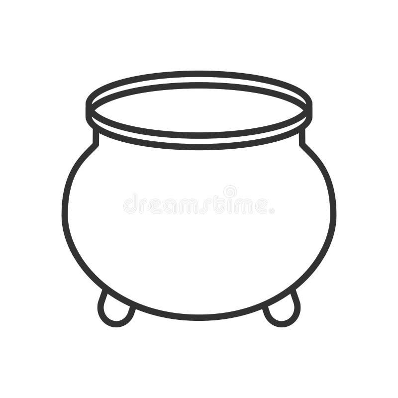 Vaso dell'icona piana del profilo dell'oro su bianco illustrazione vettoriale