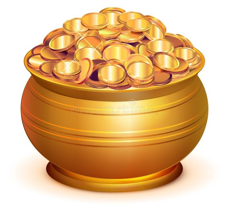 Vaso dell'oro in pieno delle monete di oro royalty illustrazione gratis