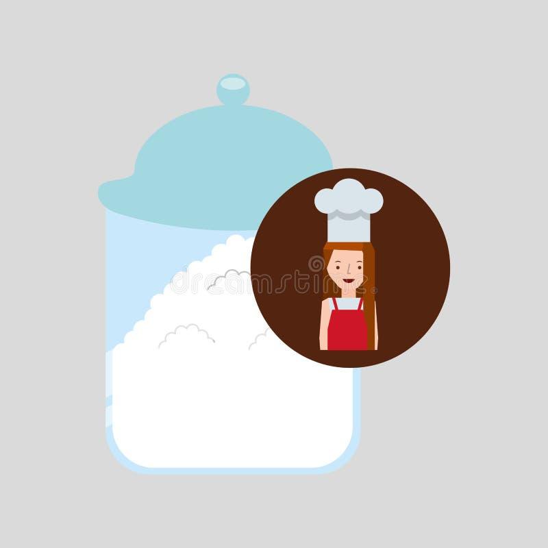 Vaso dello zucchero della ragazza del fornello royalty illustrazione gratis