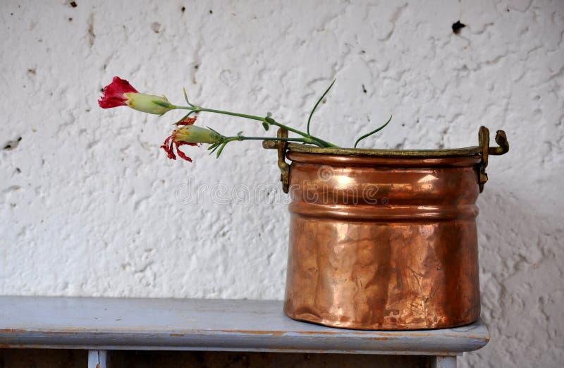 Vaso di Ccopper con due garofani appassiti fotografia stock