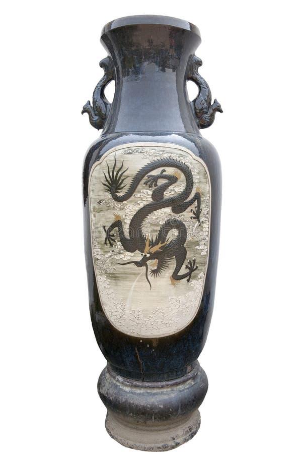 Vaso di ceramica cinese con il drago fotografia stock