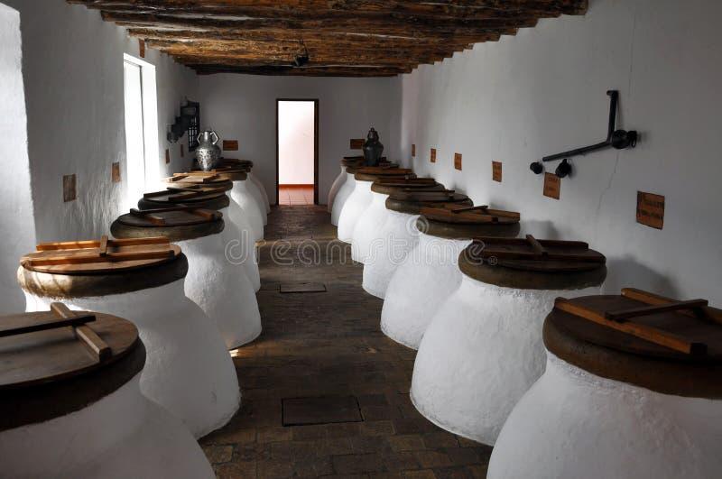 Vaso di fermentazione dell'olio di oliva fotografie stock libere da diritti