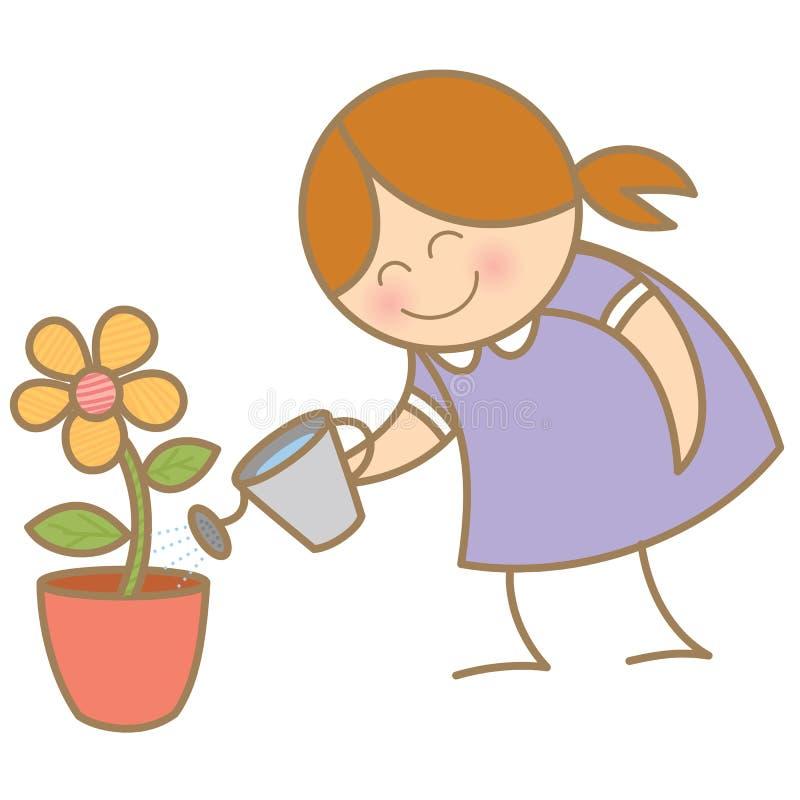 Vaso di fiore dell'acqua della ragazza piccolo illustrazione di stock