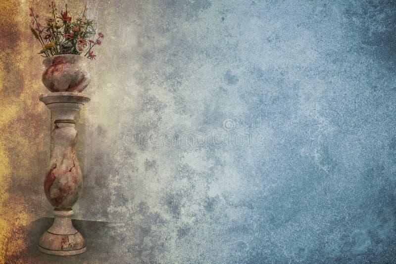 Vaso di fiore sul piedistallo illustrazione vettoriale