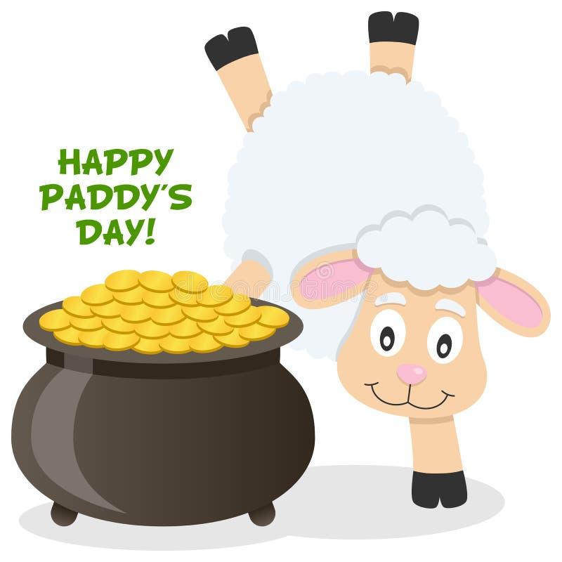 Vaso di giorno di Patrick s di oro e delle pecore illustrazione di stock