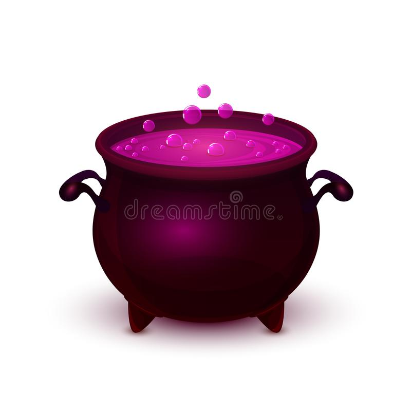 Vaso di Halloween con pozione e la bolla porpora illustrazione di stock