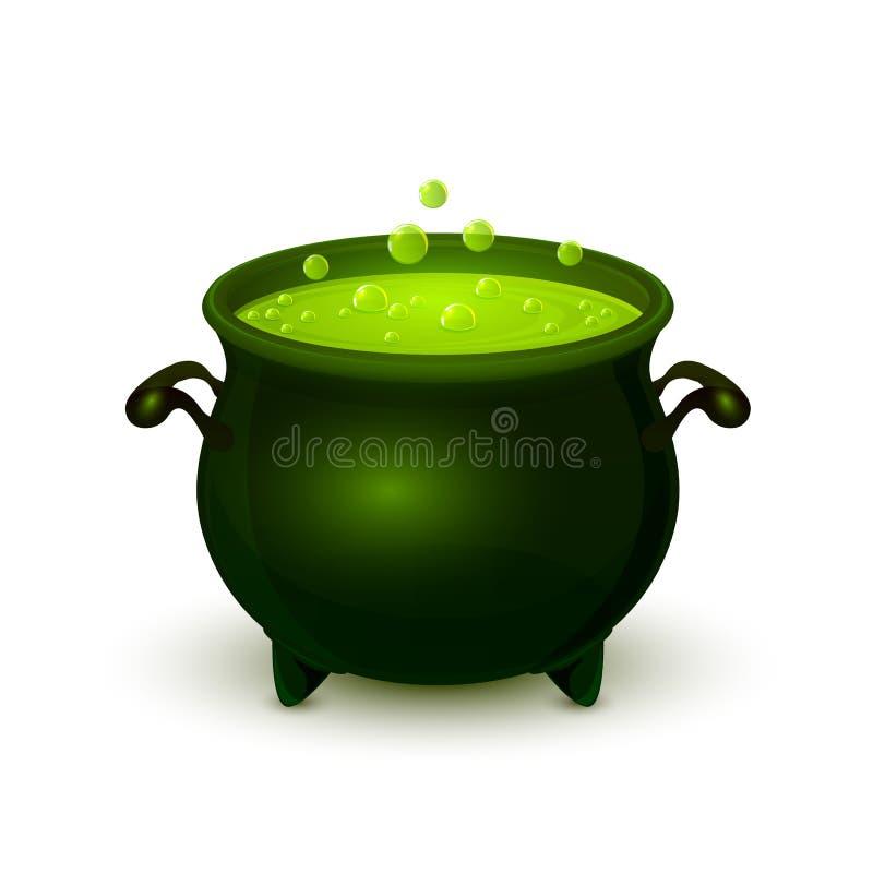 Vaso di Halloween con pozione e la bolla verdi illustrazione di stock