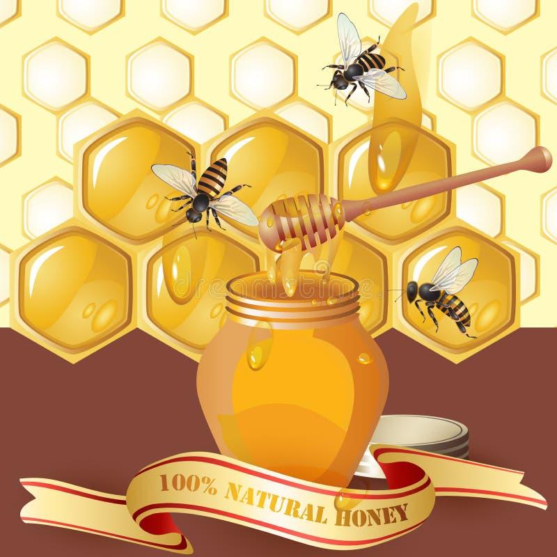 Vaso di miele con il merlo acquaiolo di legno illustrazione vettoriale